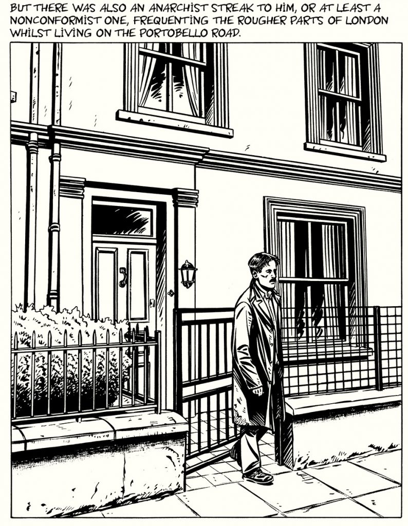 ORWELL p. 39. Orwell in front of a building.