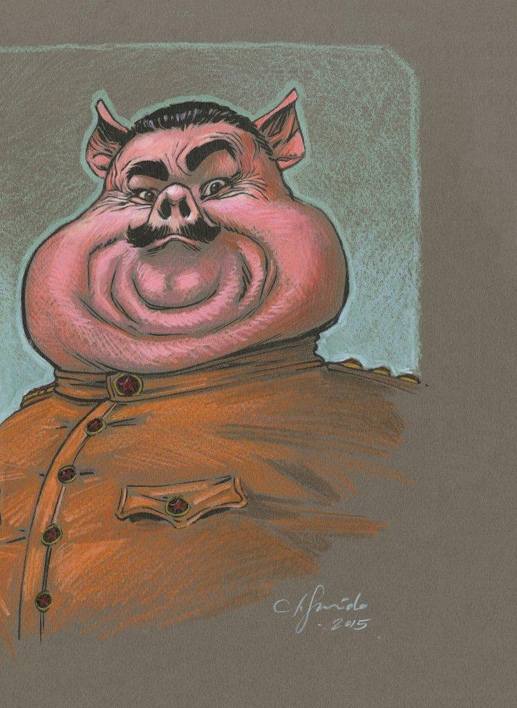 Figure 6.  ORWELL p. 135. A Stalin-esque Napoleon from Animal Farm.